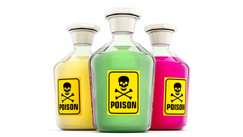 Toxic substances in bottles