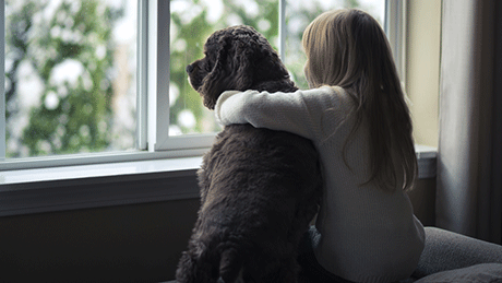 Girl and dog looking out window