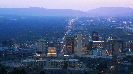 Salt Lake City and the valley including Taylorsville Utah at dusk