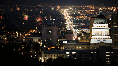 Fireworks in Salt Lake City Utah